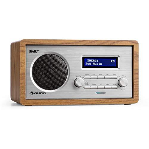 AUNA Harmonica - Digitalradio, DAB+ / UKW-Radiotuner, Radiowecker, Retro, automatische/manuelle Sendersuche, RDS, AUX, Sleep-Timer, braun