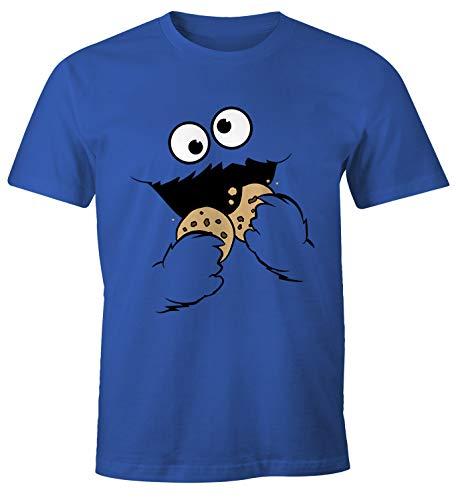 MoonWorks® Herren T-Shirt Krümelmonster Keks Cookie Monster Fasching Karneval Kostüm blau L