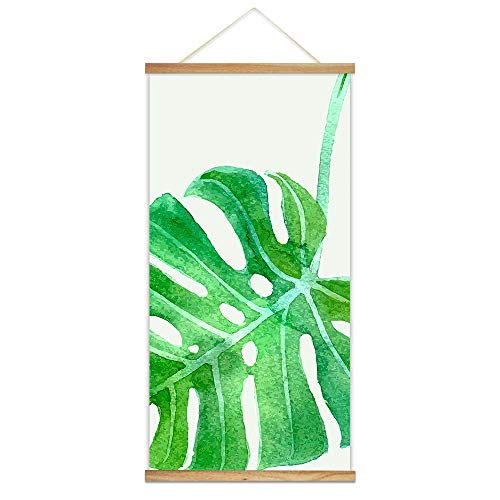 wall26 - Hanging Poster with Wood Frames - Watercolor Style Tropical Leave - Ready to Hang Decorative Wall Art - 18'x36'