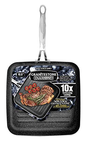 "GRANITESTONE 2594 Grill Pan 10.25"" Nonstick Stovetop Cookware PFOA Free Oven-Safe, Dish Washwasher safe As Seen On TV"
