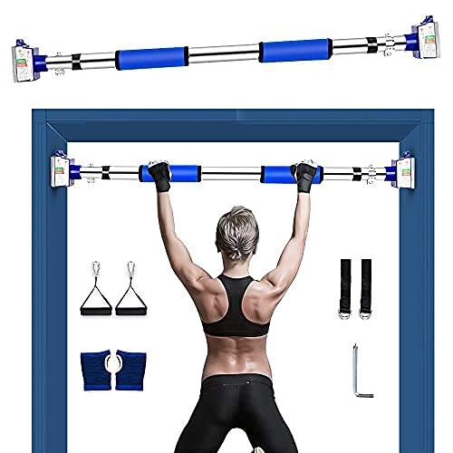 Pullup Bar, Heavy Duty Pull Up Bar for Doorway, Multifunctional Wall Mounted Doorway Pull Up Bar No Screws at Home Gym Equipment Chin up Bar with Locking Mechanism for Men Women (Blue )