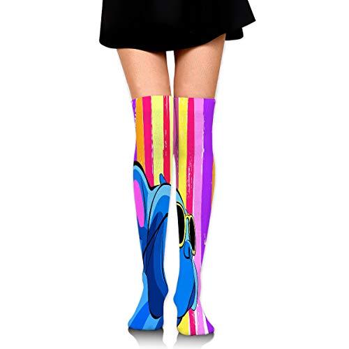 Xunulyn Calcetines Altos Women's Knee High Socks Athletic Mid-Calf Socks 19.7in/50cm Close up Portrait Domestic Dog French Bulldog bree