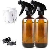 THETIS Botellas de Spray vacías de ámbar Boston de 455ml (2 Paquete de) -...