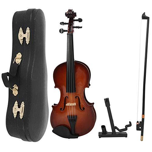 Viool Miniatuur, Houten Miniatuur Viool Model Mini Muziekinstrument Model Ornamenten Met Geschenkdoos 20cm