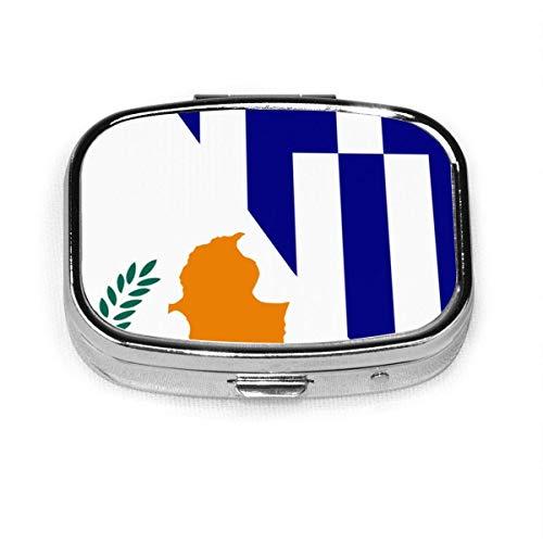 Bandera de Grecia y Chipre, caja de pastillas cuadrada de mo