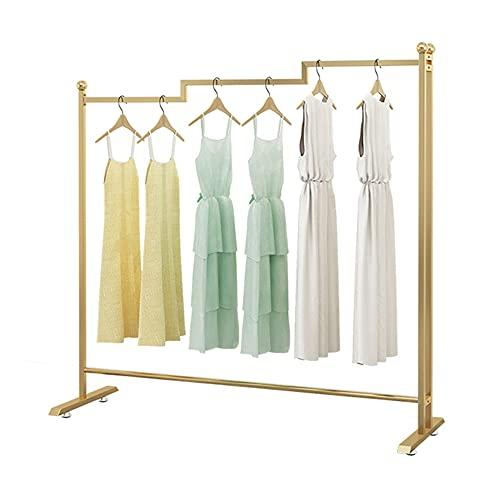 Barra de ropa pesada, estante de exhibición de ropa de metal minimalista moderno, estante de secado de tubería industrial, perchero de dormitorio/dorado / 128×160cm
