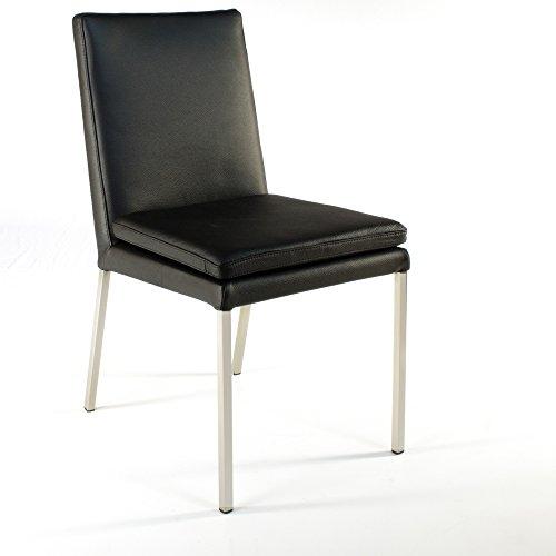 SIX Lederstuhl Stella Rindsleder Schwarz Besucherstuhl Stuhl Stühle