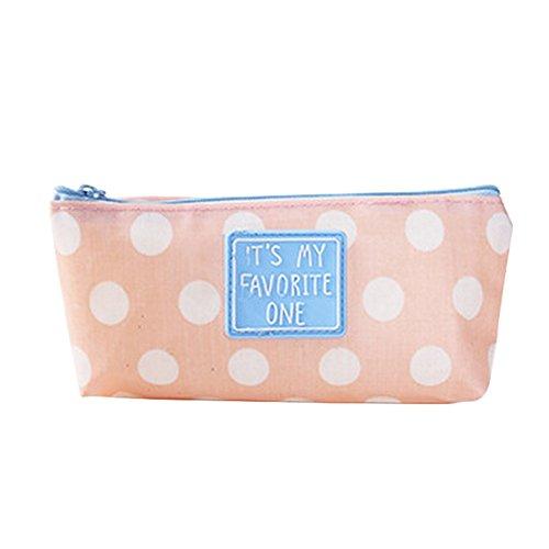 Freedi Canvas Pencil Case Pouch Zipper Closure Cosmetic Makeup Bag Cute Pen Stationery Holder