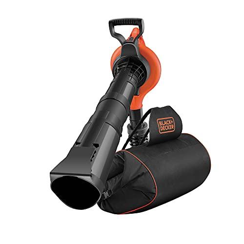 Black+Decker Elektro-Laubsauger / Laubbläser mit Häcksler GW3031BP (72l Fangsack-Rucksack, Laubrechen und Tragegurt – Hohe Blasgeschwindigkeit und Saugleistung – 3000W)
