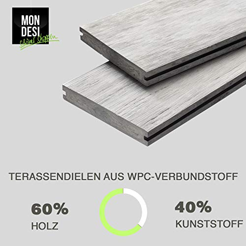 WPC Terrassendielen Massivdiele Antik - Komplett-Set Hellgrau | 9m²(3m x 3m) | Boden-Fliesen + Unterkonstruktion & Clips | Balkon Boden-Belag + rutschfest + witterungsbeständig - 6