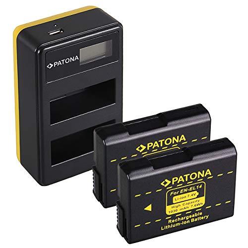 PATONA Caricatore doppio LCD USB con 2x EN-EL14 Batteria compatibile con Nikon Coolpix P7100, P7700, P7800, D5600, D3400, Df