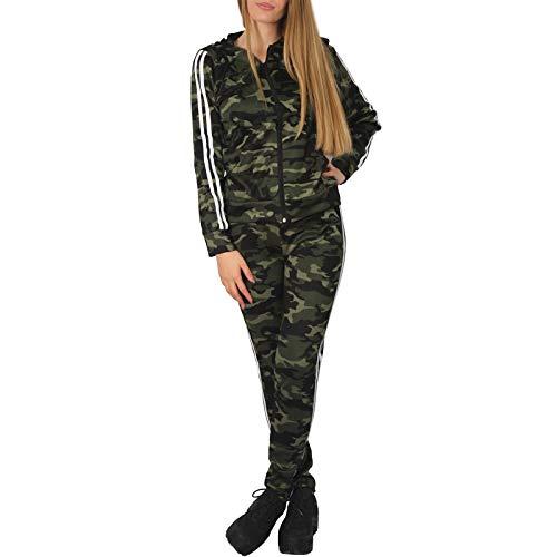 C.G 2tlg Damen Streifen Trainingsanzug Jogginganzug Kapuze Sportanzug Hausanzug Karo BFSET 568 (Camouflage Oliv, 36/38 S/M)