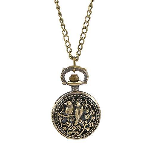 J-Love Mujeres Hombres Moda Movimiento de Cuarzo Reloj de Bolsillo Vintage Relojes de Bolsillo Dobles de urraca