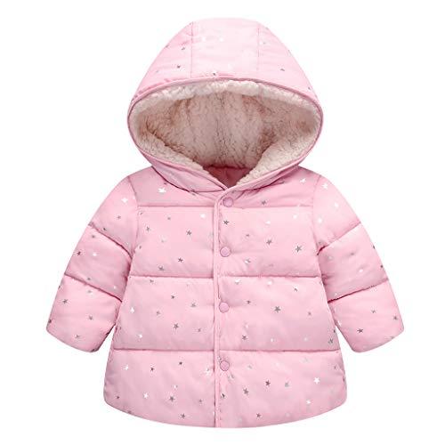 Vine Niños bebé con capucha de Down algodón acolchado chaqueta de invierno de las muchachas Wadded Capa Caliente Traje para la nieve acolchado de abrigo para 90cm / 12 Para Rosa, Rosa