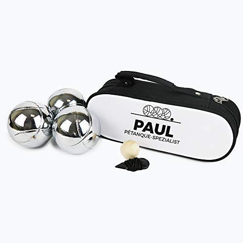 CADEAUX.COM Personalisierbare Boule-Tasche 3er-Set - Petanque-Set personalisiert mit Namen oder Wunschbegriff - enthält 3 Stahlkugeln, 1 Zielkugel