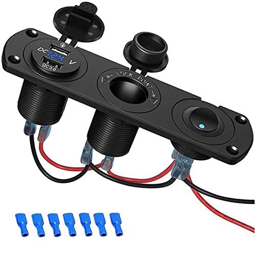QC3.0 Auto USB Steckdose, SONRU 12V/24V KFZ Ladegerät 36W USB Quick Charge, LED Voltmeter/Schalter/Zigarettenanzünder, Wasserdichte & Staubdicht, für KFZ Boot Motorrad SUV LKW Wohnwagen Marine