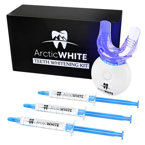 ArcticWHITE Teeth Whitening Kit - (3) 3ML Gel Syringes With Dental Grade (35%) Carbamide Peroxide - Noticeably Whiter Teeth Without Pain Or Sensitivity - LED Accelerator Light, Mouth Tray, Case