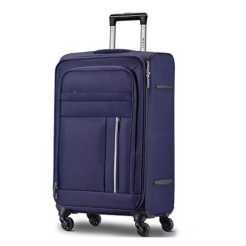 28inch Soft Shell Luggage Super Lightweight Suitcases 4 Wheels-Blue