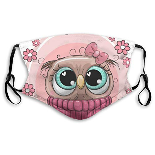 Nette Cartoon-Eule mit Blumen halbes Gesicht mit Filter-Mundmaske Gesichtsmasken Anti-Staub-Gesicht und Nasenabdeckung Coole weiche Winddichte Ski-Mund-Maske