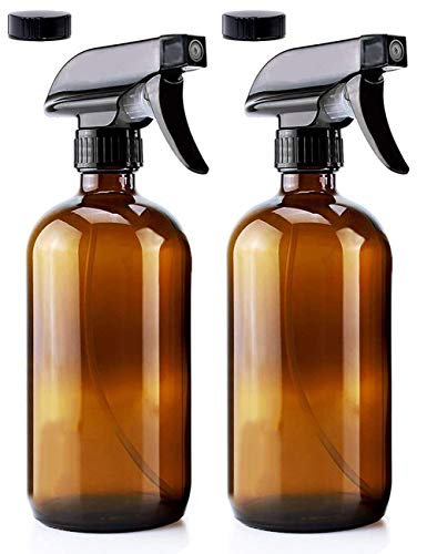 JINLE 2 Pack 250 ml botella de spray de vidrio ámbar vacía recargable fina niebla disparador, niebla y modo único ideal para aceites esenciales, limpieza