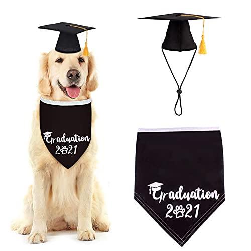 HechoVinen Disfraz de graduación para perro, gorro de graduación para perro + bandana 2 piezas para fiesta de graduación de mascotas