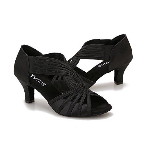 Ballroom Dance Shoes Women Latin Salsa Practice Dancer Shoes 2.5   Heels YT02(8, Black)