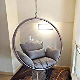 Cojín silla textil Cesta Colgante Silla Colgante, Sillas De Burbuja Transparente De Hemisferio AcríLico Espacial,Artefacto FotográFico Para Dormitorios Interiores,Balcones,Jardines Al Aire Libre