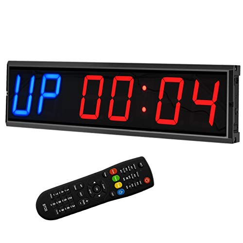 BTBSIGN LED Interval Timer Count Down/Up Clock Stopwatch (Two Blue+Four Red)