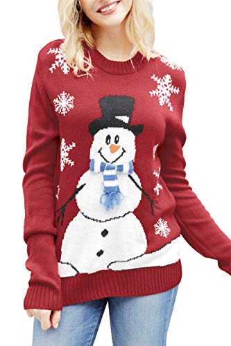 Viottiset Women's Ugly Christmas X Mas Pullover Knitted Sweater Jumper M Red...