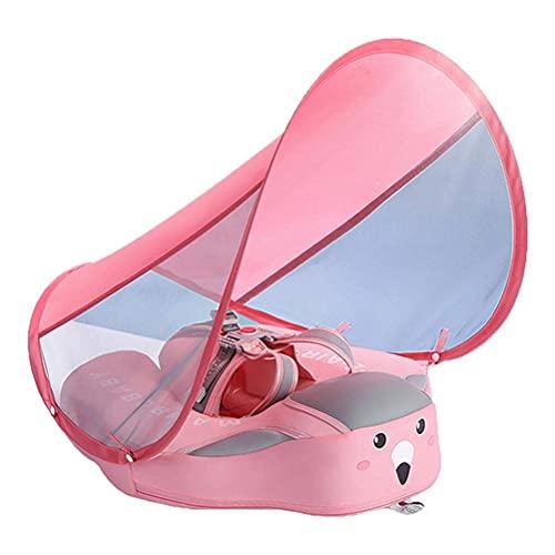 GHQBDMG Flotador Inflable para Piscina de Bebé con Toldo de Protección Solar con Cinturón Protector sin Voltear para La Edad de 3-36 Meses (Rosa)