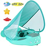 V Convey Size Improved Add Tail Never Flip Over Mambobaby 2020 Newest Non-Inflatable Float Swim Trainer Relaxing Infant Baby Pool Float with Canopy Solid Waist Swimming Ring Sunshade (Green Cf)
