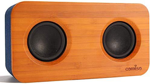 COMISO Altavoz Bluetooth con Estéreo Supergraves, Altavoces Inalámbricos de Audio en Casa de Madera de Bambú de 20 W con Subwoofer, Bluetooth V5.0 para Hogar, Exterior, Viajes (Madera/Azul)