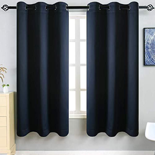 TEKAMON Blackout Curtains 2 Panels Top Eyelet Solid Thermal Insulated Curtains for Bedroom/Living Room, 46 x 90 Inches, Navy Blue