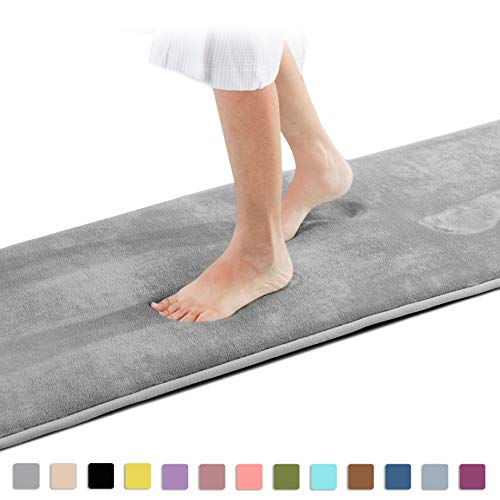 Genteele Memory Foam Bath Mat Non Slip Absorbent Super Cozy Velvet Bathroom Rug Carpet (60 inches X 17 inches, Gray)