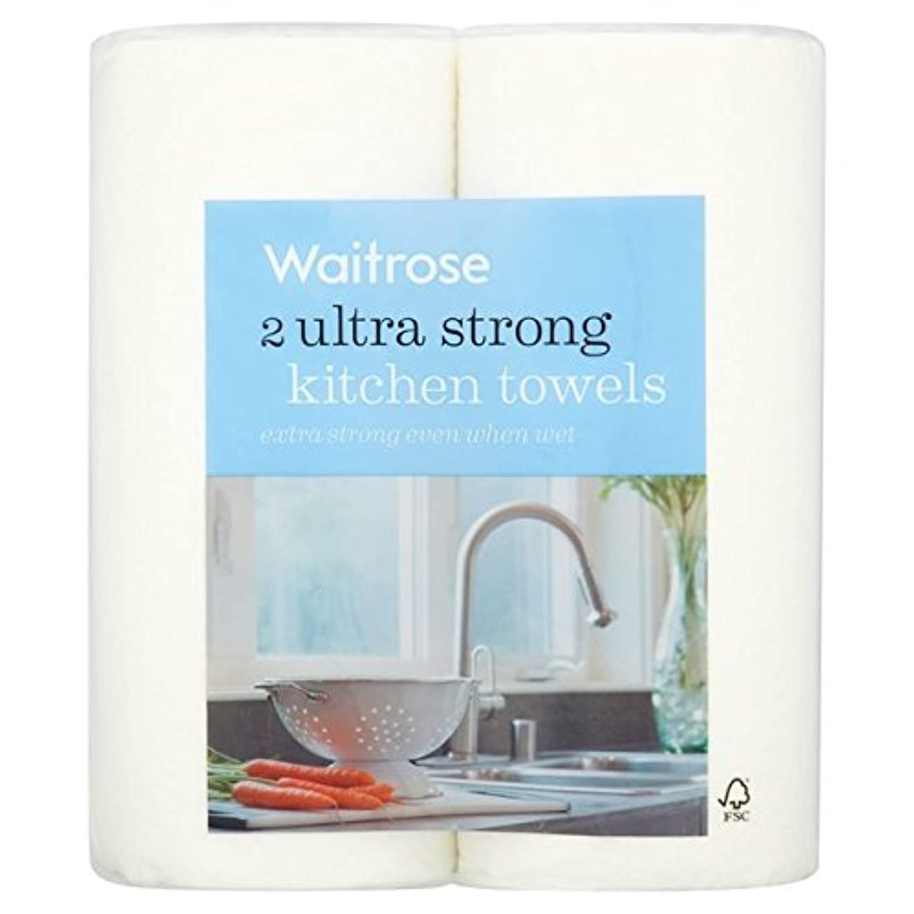 幽霊慢な起点パックあたりの超強力なキッチンタオル白ウェイトローズ2 x2 - Ultra Strong Kitchen Towel White Waitrose 2 per pack (Pack of 2) [並行輸入品]