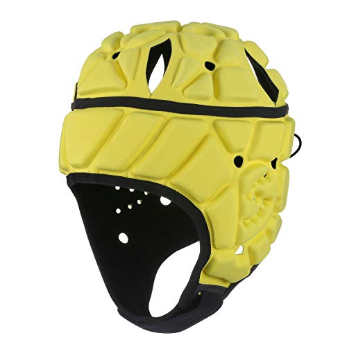 Surlim Soft Helmet Flag Football Rugby Helmet Scrum Cap Soft Shell Helmet Soccer Headgear Special Needs Head Protection for Youth Adults (Yellow, Large)