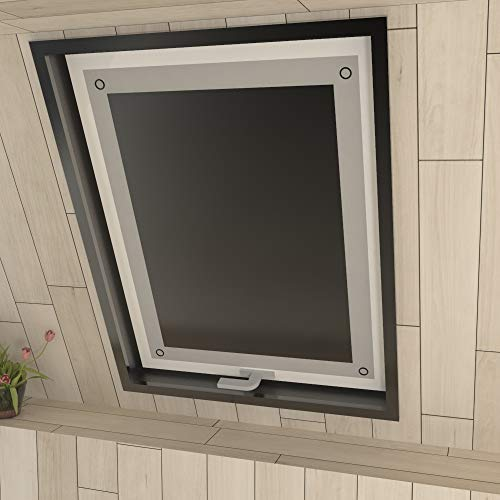 Eurohome Thermo Dachfenster Rollo ohne Bohren Sonnenschutz Verdunkelungsrollo mit Saugnäpfen für Velux Fenster Schwarz 76 x 93 cm