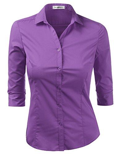 Doublju Womens Slim Fit Plus Size Button Down 3/4 Sleeve Slim Fit Dress Shirt Violet XLarge