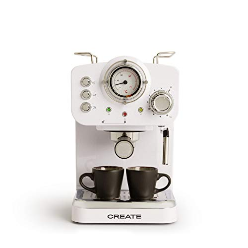 IKOHS THERA Retro - Cafetera Express para Espresso y Cappucino, 1100W, 15 Bares, Vaporizador Orientable, Capacidad 1.25l,...