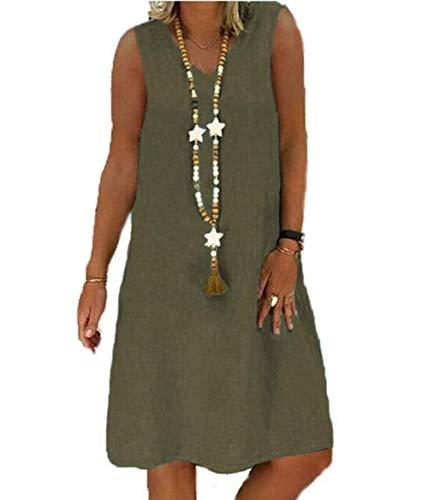 Yutila Damen Leinenkleid für den Sommer V-Ausschnitt Casual Kleid im Boho Look, B-grün, XL(EU 42)