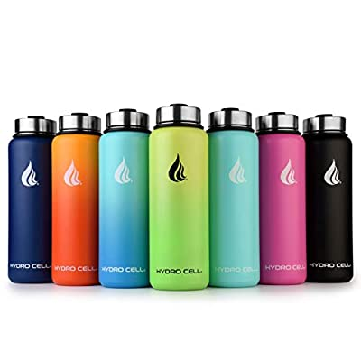 Hydro Cell Stainless Steel Water Bottle w/Straw & Wide Mouth Lids (40oz 32oz 24oz 18oz) - Keeps Liquids Hot or Cold with Double Wall Vacuum Insulated Sweat Proof Sport Design (Lavender/White 40 oz)