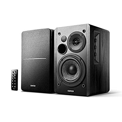 Edifier R1280DB Active Remote Control Bookshelf Studio Speakers with Bluetooth, 2 x RCA Line In, Optical and Coaxial connections, Built in Amplifier Perfect for Laptop, PC, MAC, Phone and Hi-Fi Black from EDIFIER