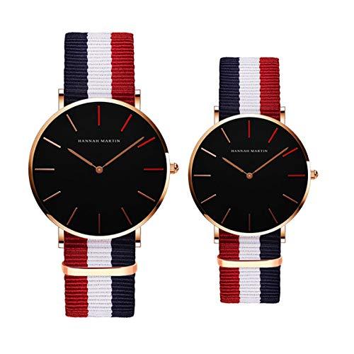 Hannah Martin Relojes para los amantes analógicos de cuarzo casual reloj de pulsera deportivo a la moda impermeable par reloj con correa de nailon, paquete de 2