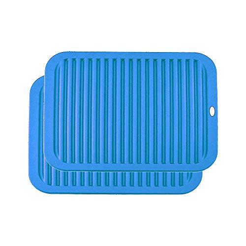 YOFASEN Blu Sottopentola in Silicone - Presine Multifunzione Silicone da Cucina - Tappetino in Silicone Antiscivolo e Termoresistenti, 2xBlu, 30x23x0.6