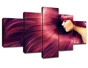 Hair Salon Wall Decor Canvas Art Pictures Poster Framed Prints Hairdressing Paintings Artwork Room Decorations Ready to Hang 60  Wx32  H