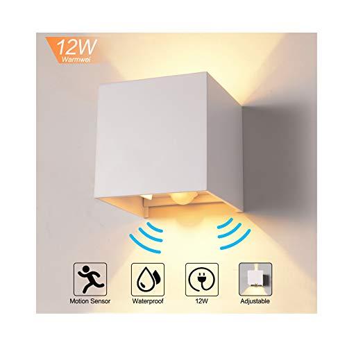 12W Wandleuchte mit Bewegungsmelder Aussen/Innen LED Wandbeleuchtung, Warmweiß Wasserdicht Verstellbare Walllampe, LED Wandleuchte Sensor für Garten/Flur/Weg -Weiß
