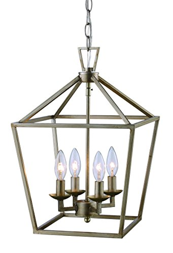 Trans Globe Imports 10264 ASL Transitional Four Light Pendant from Lacey Collection in Pwt, Nckl, B/S, Slvr. Finish, 12.00 inches, 12
