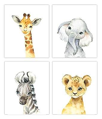 Little Baby Watercolor Animals Safari Prints Set of 4 (Unframed) Nursery Decor Art (8x10)