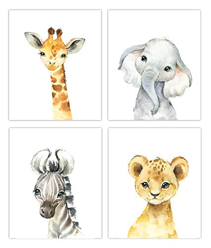 Little Baby Watercolor Animals Safari Prints Set of 4 (Unframed) Nursery Decor Art (8x10) (Option 1)