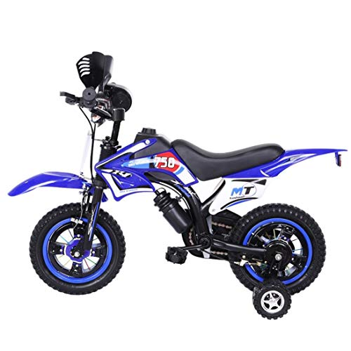 Zhibek Children's Bicycle Boy Girl Freestyle Bicycle 12 Inch with Flash Assist Wheel & Comfortable Saddle Kids Dirt Bike for 2-9 Year Old (Blue)